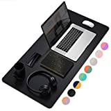 Office Desk Pad, Ultra Thin Waterproof PU Leather Mouse Pad, Dual Use Desk Writing Mat for Office/Home (31.5' x 15.7', Black)