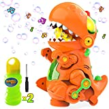 WisToyz Bubble Machine Bubble Maker, Walk & Stand Orange Dinosaur Bubble Machine with Music and Lights, Automatic Indoor Outdoor Bubble Machine for Kids Toddlers Toys Easy to Use 3 AA Batteries Needed