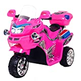 Electric Motorcycle for Kids – 3-Wheel Battery Powered Motorbike for Kids Ages 3 -6 – Fun Decals, Reverse, and Headlights by Lil' Rider (Pink)