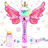 WisToyz Bubble Machine Bubble Blower with Detachable Wings, Musical Light-up Bubble Wand, 1000+ Bubbles Per Minute, Bubble Solution & Screwdriver Included, Bubble Machine for Kids & Toddlers
