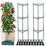 Tomato Cages, 3-Pack 47.2 Inch High Tomato Stakes, Steel Metal Pipe Green Cover Plastic Coating with Non-Slip Spurs, Tomato Plant Support Support Fruit Flowers