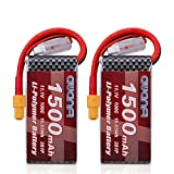 AWANFI 3S LiPo Battery 11.1V 1500mAh 100C LiPo Battery Pack with XT60 Plug for RC Models, RC Car, RC Boat, FPV, Drone, Helicopter, Axial Capra (3S Battery 2Pack)