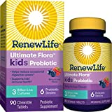 Renew Life Ultimate Flora Kids Probiotics 3 Billion CFU Guaranteed, 6 Strains, Shelf Stable, Gluten Dairy & Soy Free, 90 Chewable Tablets, Berry flavor (Packaging May Vary)-60 Day Money Back Guarantee