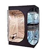 TopoGrow 2-in-1 48'X36'X72' Grow Tent 4'X3' Diamond Mylar Canvas Reflective Growing Tents Room Box House Lodge Propagation Flower Veg Indoor Plant Growing Hydroponics Growing System with Floor Tray