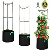 GROWNEER 3 Packs Plant Cages Assembled Tomato Garden Cages Stakes Vegetable Trellis, with 3Pcs 10 Gallon Grow Bags, 9Pcs Clips and 328Ft Twist Tie, for Vertical Climbing Plants
