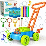 JUMELLA Lawn Mower Bubble Machine for Kids - Automatic Bubble Mower with Music, Baby Activity Walker for Outdoor, Push Toys for Toddler, Christmas Birthday Gifts for Preschool Boys Girls 2-6 Years Old