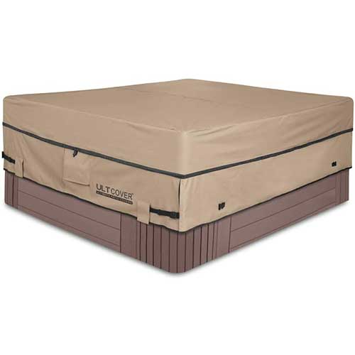 2. ULTCOVER Waterproof 600D Polyester Square Hot Tub Cover