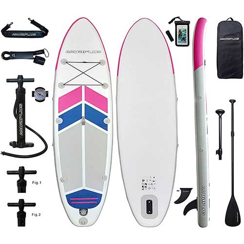 6. Aqua Plus 10ftx32inx6in Inflatable SUP for All Skill Levels with Stand Up Paddle Board