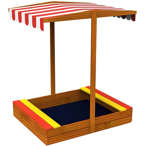 8. TOYSTER'S Wooden Sandbox with Roof   Colorful Backyard Sand Box for Kids
