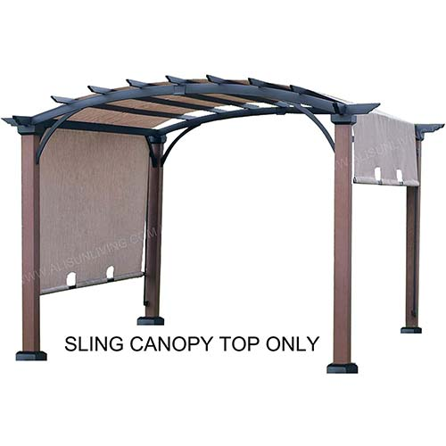 2. ALISUN Sling Canopy (with Ties) for The Lowe's Allen + roth 10 ft x 10 ft Tan/Black Material Freestanding Pergola