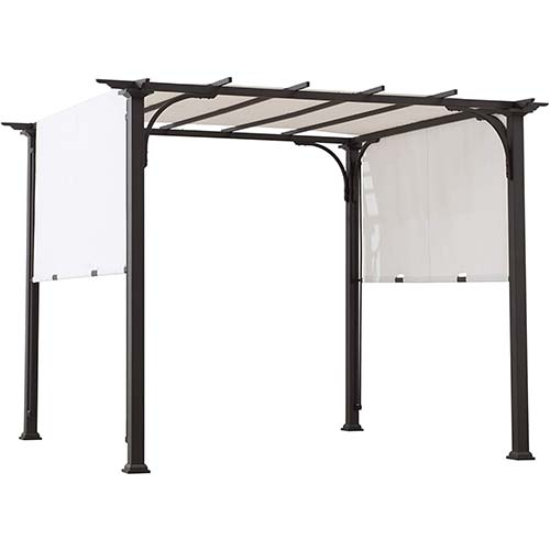 10. Sunjoy A106005500 Diego 8x8 ft. Steel Classic Pergola with Adjustable Shade, White