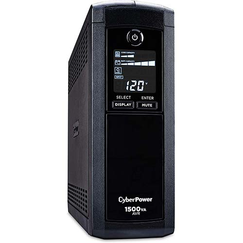 2. CyberPower CP1500AVRLCD Intelligent LCD UPS System, 1500VA/900W, 12 Outlets, AVR, Mini-Tower