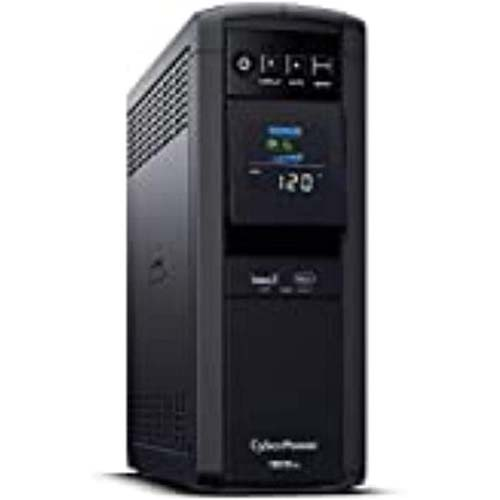 5. CyberPower CP1500PFCLCD PFC Sinewave UPS System, 1500VA/1000W, 12 Outlets, AVR, Mini Tower