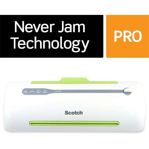 2. Scotch Brand Pro Thermal Laminator, Never Jam Technology Automatically Prevents Misfed Items, 2 Roller System (TL906)