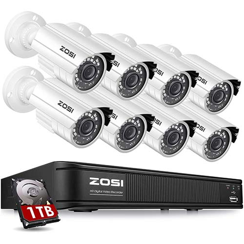 6. ZOSI H.265+1080p Home Security Camera System Outdoor Indoor, 1080N Security DVR 8 Channel