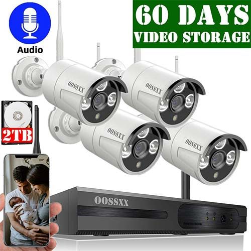 2. OOSSXX 8-Channel HD 1080P Wireless Security Camera System,4Pcs 1080P Wireless Indoor/Outdoor IR Bullet IP Camera