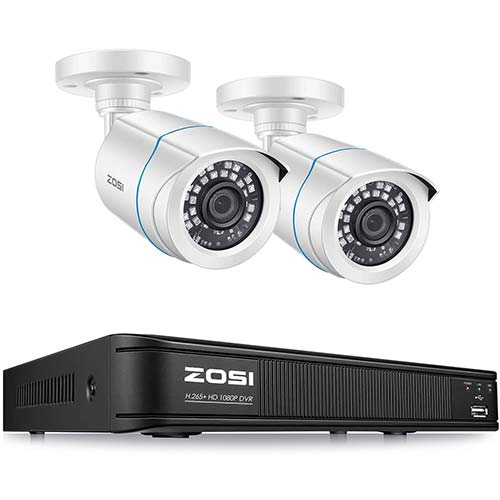 7. OSI H.265+ 1080P Home Security Camera System, 4 Channel Security DVR Recorder and (2) 1080p Weatherproof Bullet Camera