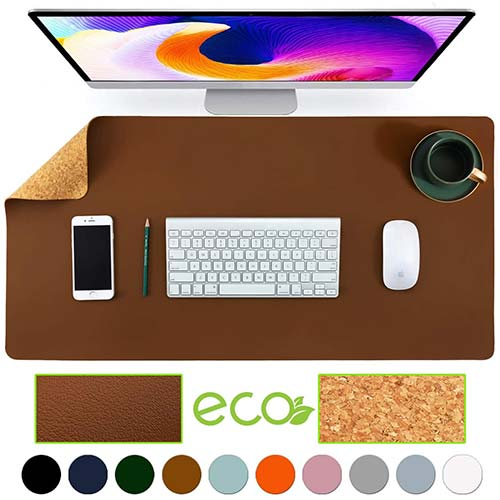 2. Aothia Eco-Friendly Natural Cork & Leather Double-Sided Office Desk Mat Mouse Pad Smooth Surface