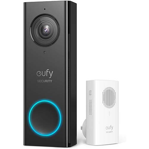 8. eufy Security, Wi-Fi Video Doorbell, 2K Resolution, No Monthly Fees, Secure Local Storage, Human Detection