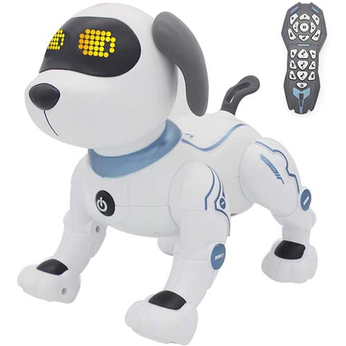 9. fisca Remote Control Dog, RC Robotic Stunt Puppy Voice Control Toys Handstand Push-up Electronic Pets Dancing Programmable Robot