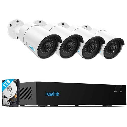 5. Reolink 4CH 4MP PoE-Security-Camera-System, 4pcs Wired 4MP Outdoor PoE IP Cameras, 4-Channel NVR