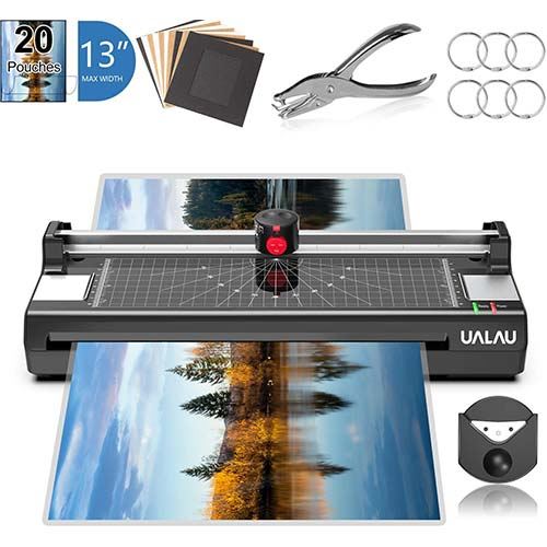 10. 13 Inches Laminator Machine, UALAU 7 in 1 Thermal Laminator with 20 Laminating Pouches