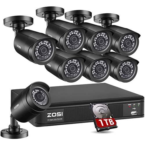 9. ZOSI H.265+1080p Home Security Camera System Outdoor Indoor, 1080p Lite CCTV DVR Recorder 8 Channel