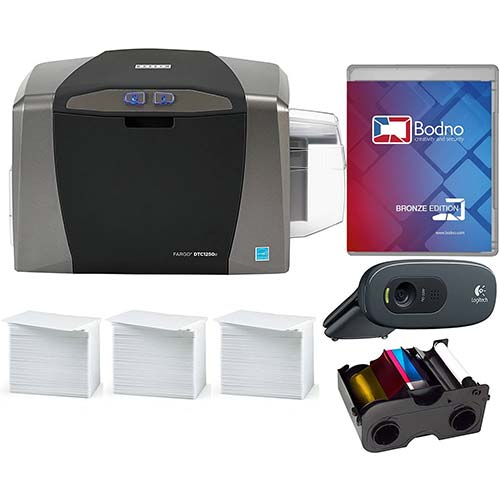 3. Fargo DTC1250e ID Card Printer & Complete Supplies Package with Bodno Software