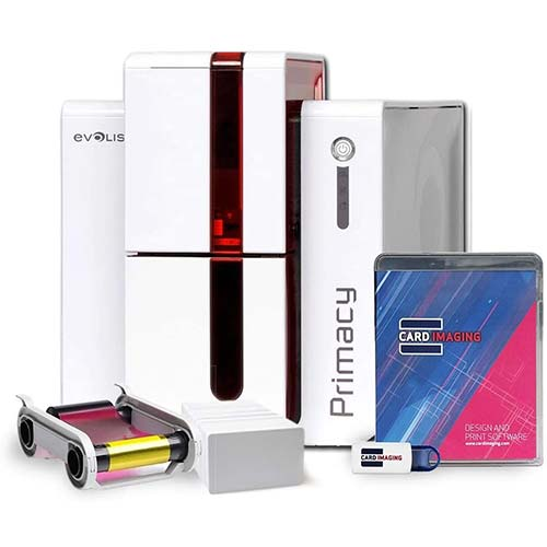4. Evolis Primacy Dual Side ID Card Printer & Badge Supplies Bundle with Card Imaging Software