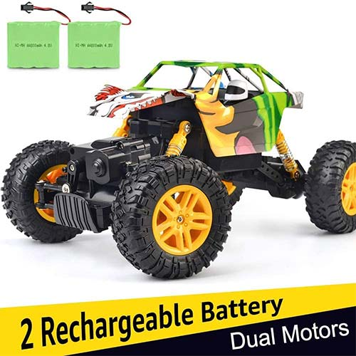 9. DOUBLE E RC Cars 1:18 Dual Motors Rechargeable Remote Control Truck 4WD Off-Road RC Truck Rock Crawler
