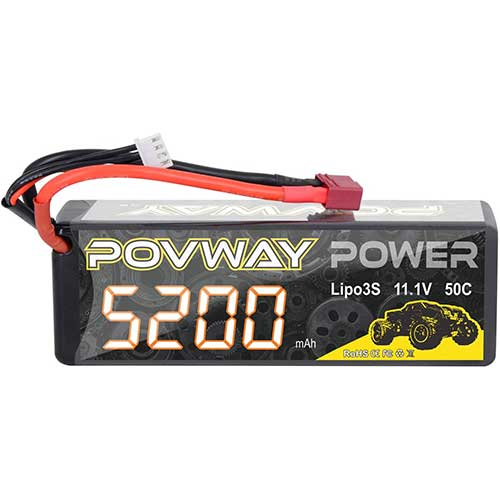 1. Lipo Battery, POVWAY 5200mAh 3S RC Battery 11.1V 50C with Deans T Plug for RC Cars, RC Truck,Helicopter, Airplane