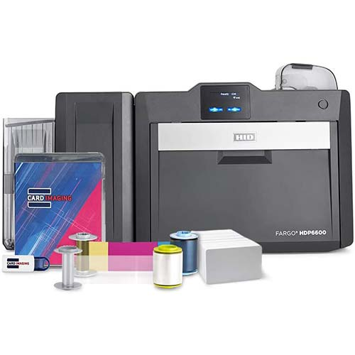 10. Fargo HDP6600 Dual Sided 600 DPI ID Card Printer & Supplies Bundle with Card Imaging Software 94640