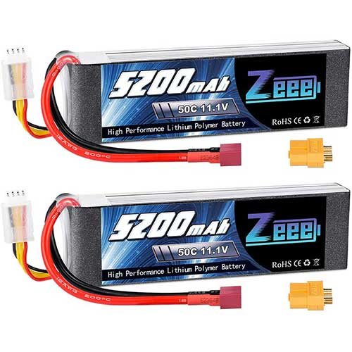 2. Zeee 11.1V 50C 5200mAh 3S Lipo Battery with Deans and XT60 Connector Soft Case for RC Plane DJI Quadcopter RC Airplane RC Helicopter RC Car Truck Boat(2 Packs)