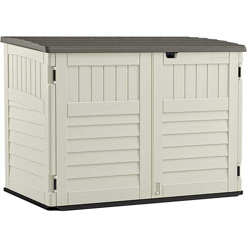 1. Suncast 5' x 3' Horizontal Stow-Away Storage Shed - Natural Wood-like Outdoor Storage for Trash Cans and Yard Tools