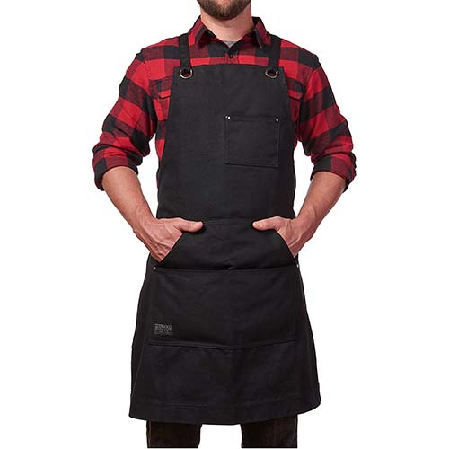 1. Hudson Durable Goods - Heavy Duty Waxed Canvas Work Apron with Tool Pockets