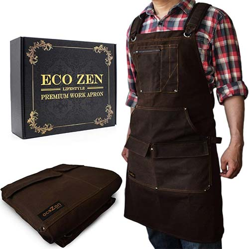 4. Woodworking Shop Apron - 16 oz Waxed Canvas Work Aprons | Metal Tape holder, Fully Adjustable to Comfortably Fit Men and Women
