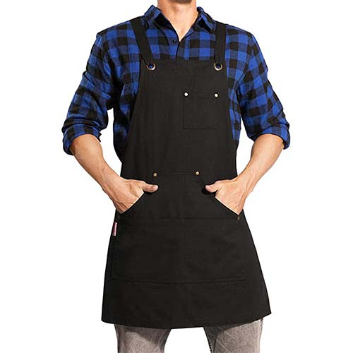 9. UNISI Chef Works Apron With Tool Pockets Cross Back Long Straps Waterproof Apron for Kitchen