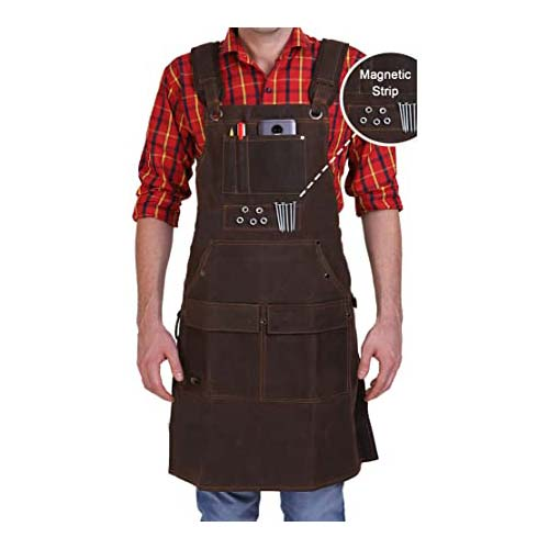7. Woodworking Shop Apron - Heavy Duty Waxed Canvas Work Apron with Pockets for Men and Women With Magnetic Strip