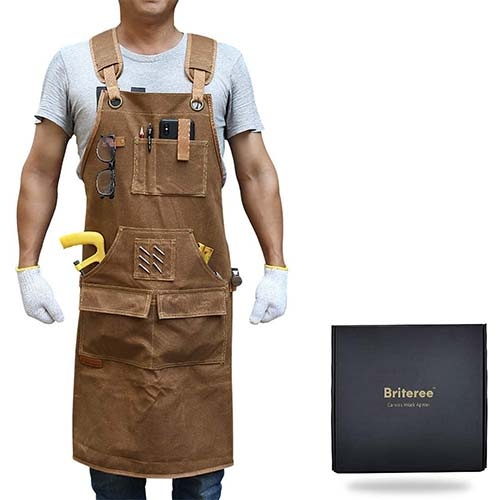 10. Briteree Woodworking Aprons for men, Gift for Woodworker, with 9 Tool Pockets, Durable Waxed Canvas