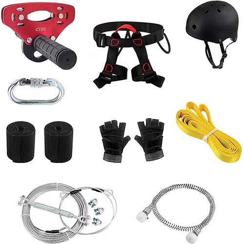 8. 120 Foot Zip Line Kits For Kids(up to 250 lbs), with Trolley, Brake, Harness and Protective Gear