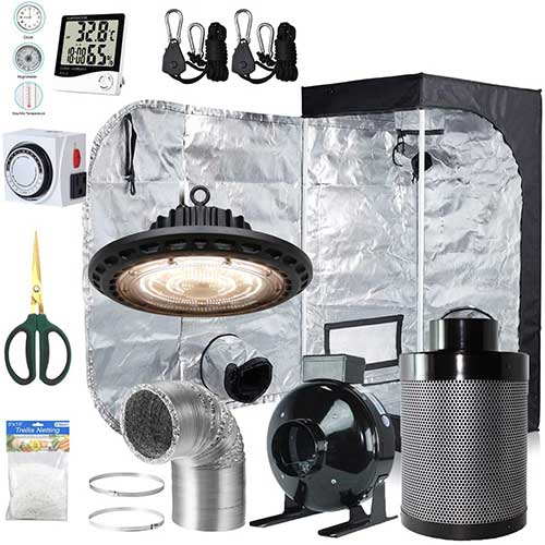 3. BloomGrow 300W Full Spectrum UFO LED Light + 24''x24''x48'' Grow Tent Complete Kit
