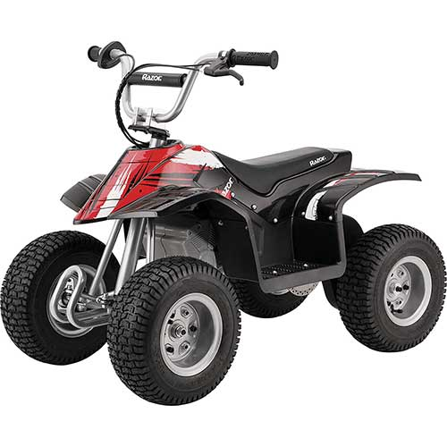 Best Electric Motorcycles for Kids 8. Razor Dirt Quad – 24V Electric 4-Wheeler Ride-On for Kids 8+, Twist-Grip Variable-Speed Acceleration Control, Hand-Operated Disc Brake