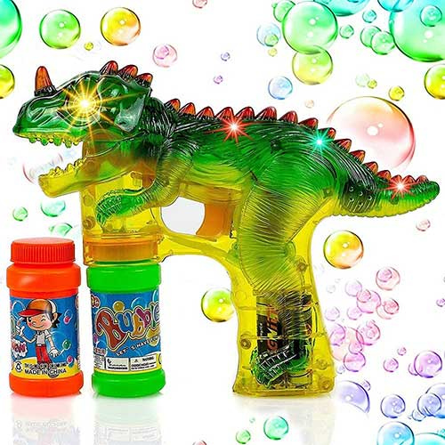 9. Toysery Dinosaur Bubble Machine Gun for Kids - Automatic Colorful Bubble Blower - Extra Refill Bottle