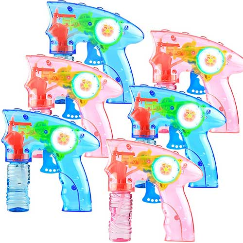 8. 6 Pcs Bubble Gun Shooter LED Light up(no Batteries Needed), Wind up Operated Bubbles Blaster Blower with Bottle Solutions