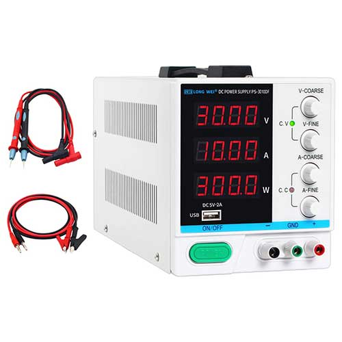 9. DC Power Supply Variable 30V 10A, 4-Digital LED Display, Precision Adjustable Switching Regulated Multifunctional Power Supply Digital