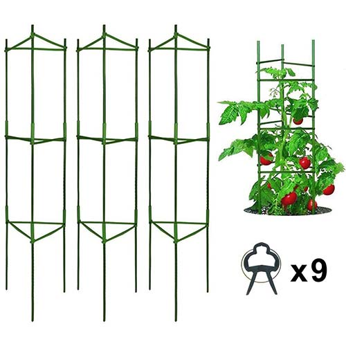 6. Derlights Tomato Cages Deformable Plant Supports, 3Pack Plant Cages Tomato Stakes Garden Cages, Multi-Functional Tomato Trellis for Climbing Vegetables with 9Pcs Clips
