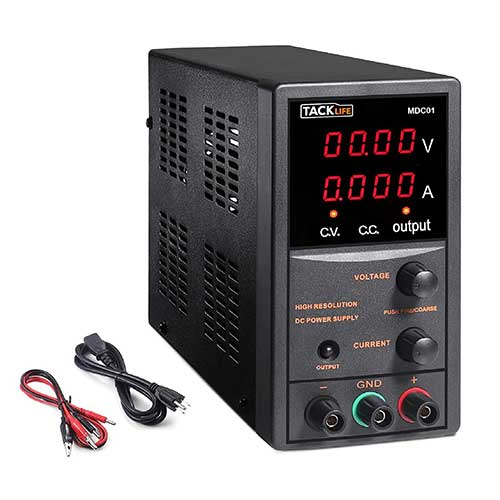 1. DC Power Supply Variable, Adjustable Switching Regulated Power Supply 30V 10A with Course and Fine Adjustments, 4-Digits Display