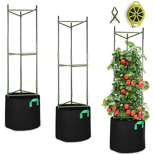8. GROWNEER 3 Packs Plant Cages Assembled Tomato Garden Cages Stakes Vegetable Trellis, with 3Pcs 10 Gallon Grow Bags, 9Pcs Clips and 328Ft Twist Tie, for Vertical Climbing Plants
