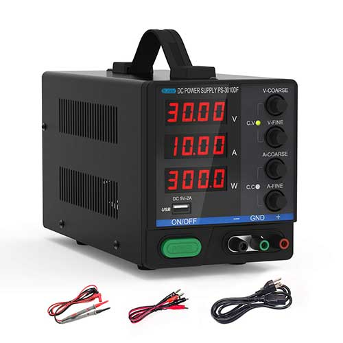 3. DC Bench Power Supply, 30V/10A Dr.meter Variable 4-Digital LED Display Power Supply, Multifunctional and Switching DC Regulated Power Supply