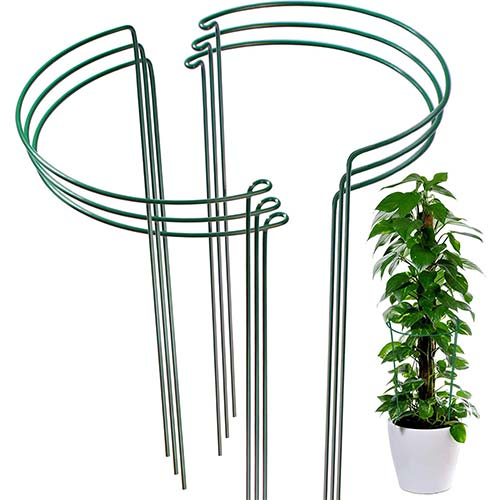 10. LEOBRO 6 Pack Plant Support Plant Stakes, Metal Plant Supports for The Garden, Plant Cage, Plant Support Ring